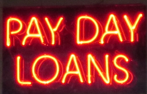 Payday loan sign in Ridgeland, Mississippi
